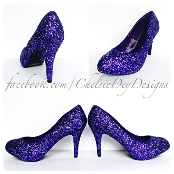 Purple & Silver Glitter Low Heels Eggplant by ChelsieDeyDesigns
