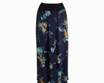 SALE, Boho skirt, Maxi Skirt, Blue skirt, Women's floral skirt, long skirt, Autumn skirt, Pregnancy skirt, Women Skirt, Casual maxi skirt