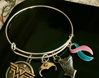 Wonder Woman - Thyroid Cancer Awareness Bracelet - Silver Adjustable Wire - Pink and teal Ribbon - Previvor / BRCA positive / mastectomy