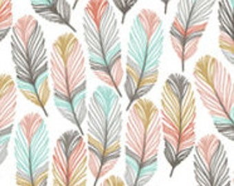 Ready to ship-Crib sheet in gray, aqua pink/coral and mustard feather fabric, baby shower gift,unique gift