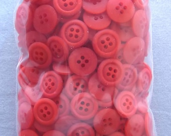 375 Plastic Craft Buttons, Red w/4 Button holes