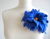 Felt Cobalt Sky Blue Unique Felted Flower Brooch Handmade Merino Wool Pumpkin Coral High Fashion Boho