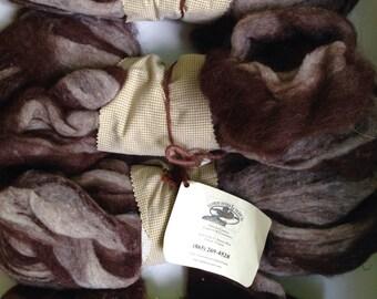 40% Off 4 oz Alpaca Wool Roving Clinch River Yarn Co Striped Brown White