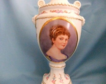 Hand painted urn with portrait of Victorian lady