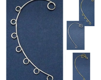 10 Difference Swirl Drop Simple Ear Cuff  Blank, Silver plated and gold plated available