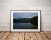 Lake Art Print, Canadian Lake Art, Lake photography print, Nature lover gift, Canada landscape art, Midnight blue art