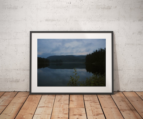 Lake Art Print, Canadian Lake Art, Lake photography print, Nature lover gift, Canada landscape art, Midnight blue art