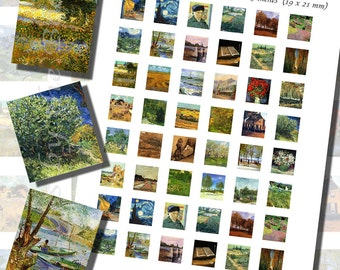 Vincent Van Gogh Printables, SCRABBLE TILE SIZE (.75 x .83 Inches or 19 x 21 mm), 36 Paintings Included, 48 Total