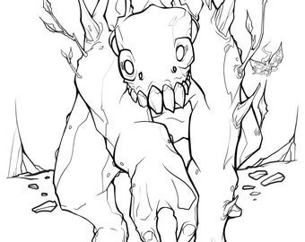 Earth Friend, DIY Print at home Digital Download Coloring Page, Adult Coloring, woodland, creature, fantasy, faerie, fairy, pagan