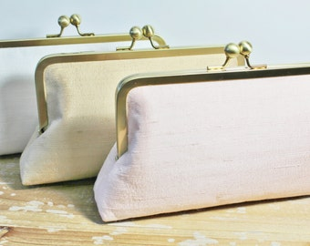 Silk Dupioni Clutch - Wedding Clutch - Bridesmaid Clutch - Blush, Ivory, Silver, Champagne Gold - Monogram Option