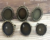 12pcs  6 style Mixed 18x25mm Oval Ring Cameo Setting