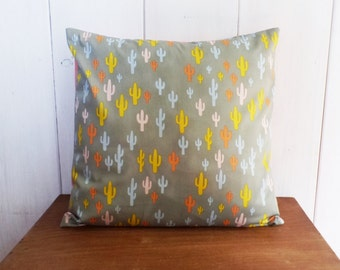 Cushion cover 40 x 40 fabrics CACTUS grey, pink, yellow, blue