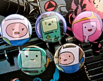 Bubblegum, Finn & BMO - Adventure Time Upcycled Comic Book Button Badge Set.