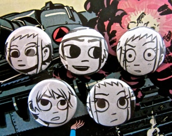 Scott & Ramona - Scott Pilgrim Vs. The World Upcycled Comic Book Button Badge Set.