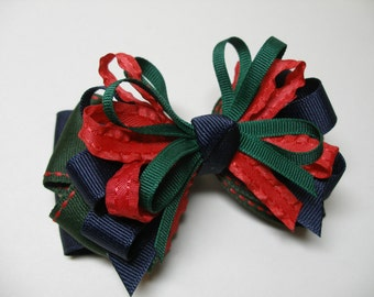 Back to School Navy Hunter Green Red Stacked Layered Hair Bow
