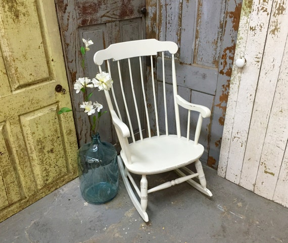 Shabby Chic Nursing Chair White Rocker Nursing Rocking Chair Shabby Chic By  Vintagehipdecor