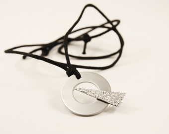 Geometric Pendant Necklace, Triangle on Circle, Aluminium
