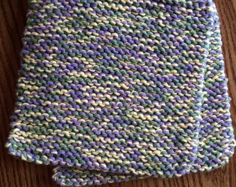 Hand Knit Pot Holders - Set of 2 - Purple, Green and Yellow