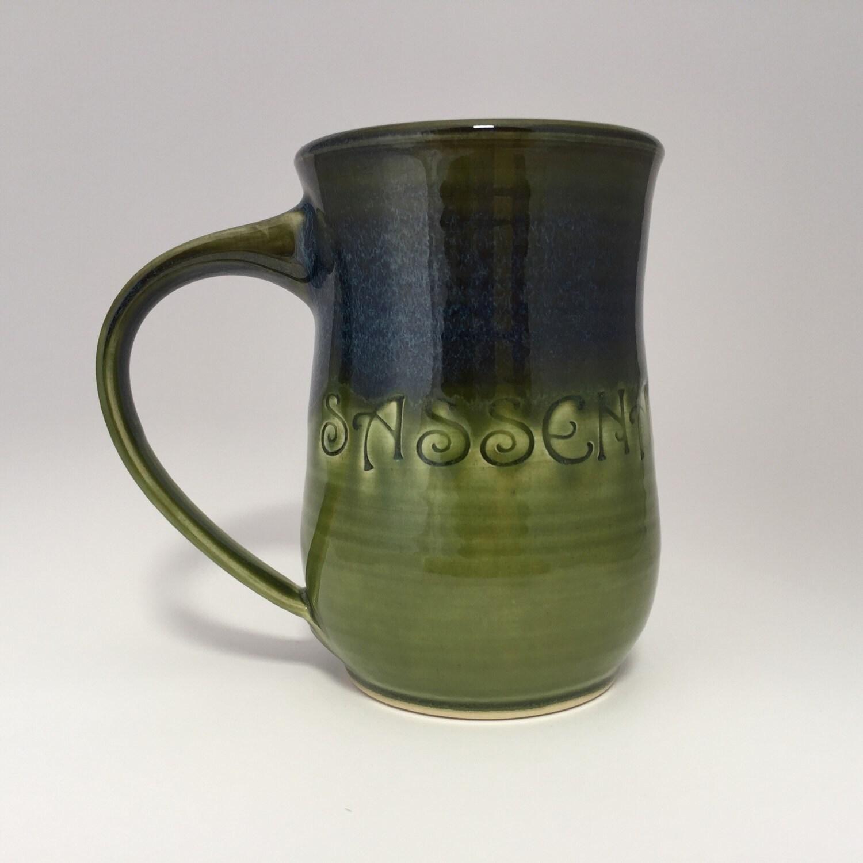 Sassenach Green and Dark Blue Coffee Mug