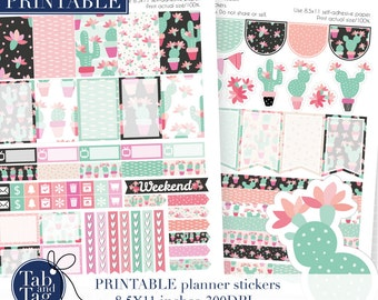 Happy Planner stickers printable pack with cute cactuses and flowers.