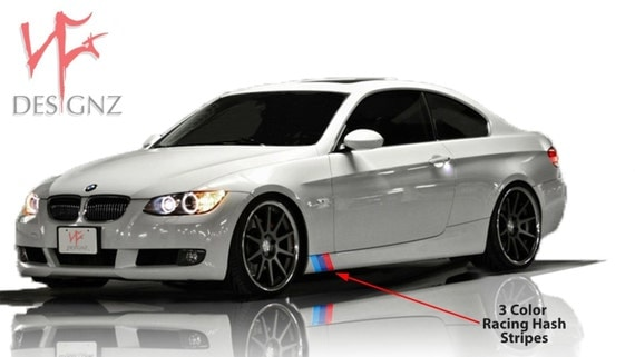 BMW M Color Stripe Decal For Side Skirt Vinyl Decal Sticker - Bmw racing stripes decals