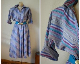 Vintage Dress / 1980's Dress / American Shirt Dress / Day Dress / Chevron Dress / Swing Skirt Dress S/M