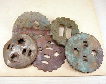 Antique Huge Button - Archaeological Excavations - set of 5 - b35