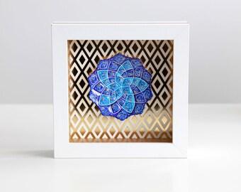 Persian Minakari wall decor- white and gold shadow box with Minakari art peice- traditional geometric wall hanging decor