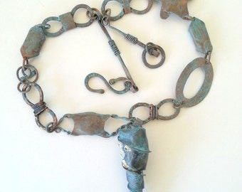 Copper ancient under the sea necklace, copper shell mermaid's purse starfish barnacle handmade chain