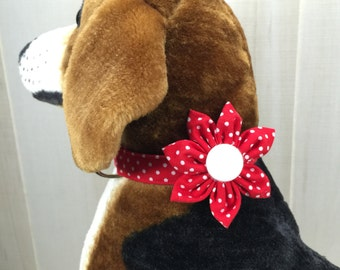 Dog Collar Flower, Fabric Flower, Dog Collar, Red and White Polka Dots