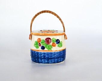 Sweet Vintage Biscuit Jar ~ Cookie Jar ~ Blue Woven Berry Basket Motif ~ Made in Japan