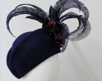 Navy fur felt hat with vintage flowers and styled osterich feathers