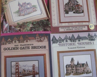 Victorian Mansions and Golden Gate Bridge - Counted Cross Stitch Pattern Booklet Set