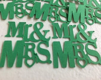 Sale...Ready to Ship Mr and Mrs Confetti in Green/Wedding/Bridal Shower