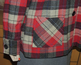 1940s to 50s Wool Plaid Shirt Jacket L to XL