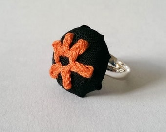 Orange Hand Stitched Flower Fabric Ring, Black and Orange Silver Ring