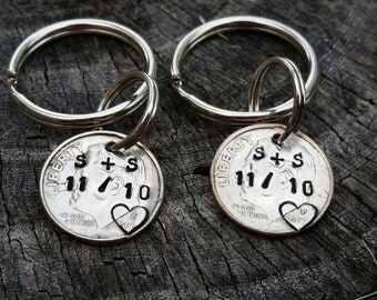 10 Year Anniversary Custom Hand Stamped Dime Keychain 10th
