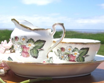 Paragon Strawberry Cream & Sugar, with underplate,  Strawberries and Blossoms  Pattern  Set with Plate  Bone  China