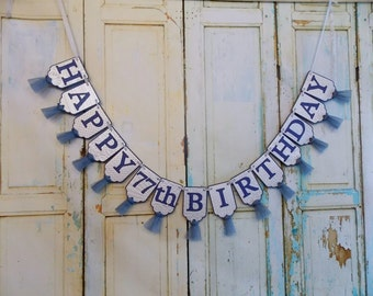 Happy Birthday Banner, Navy and Silver Embossed Banner with Tulle, Adult Birthday Sign,