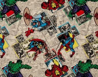 Marvel Comics The Avengers Retro Badges cotton fabric - Spiderman Ironman Thor Hulk Captain America - by the YARD
