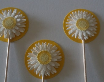 3D Daisy Flower Cupcake Toppers Birthday Party Spring Summer Celebration (12)
