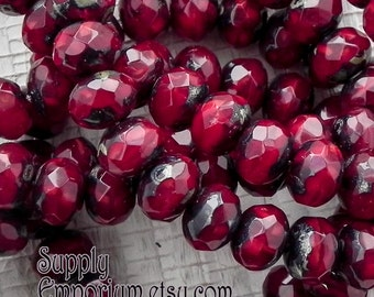 7x5mm Garnet Picasso Rondelle Beads - Fire Polished Faceted Glass Beads - 7x5mm - 25 beads - 1845