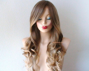 Brown / Ash blonde Ombre wig. Long curly hair long side bangs Durable Heat resistant wig for daytime use or Cosplay.