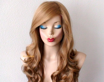Honey blonde Ombre wig. Long curly volume hair long side bangs Durable wig for everyday use or cosplay