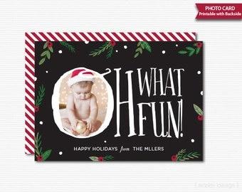 Christmas Card Holly Christmas Photo Greeting Card Black Printable Holiday Photo Card Holiday Greeting Card Greeting Card Christmas Card