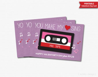 You Make My Heart Sing Valentines Cards Printable Kids Valentines Cards Cassette Valentines Music Valentines Personalized Gift Tags Favors