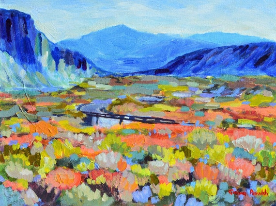 Mountains painting | Colorful Impressionist Landscape painting| Small  Original acrylic| Death valley Salt creek 12 X 16 Garima Parakh