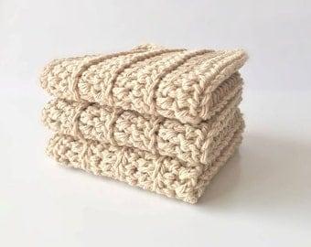 Crochet Wash Cloths - Cotton Crocheted Wash Cloths - Baby Wash Cloths - Kitchen - Bathroom - Baby - Set of 3 Beige wash cloths - spa cloths