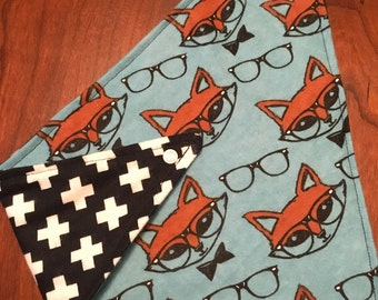 Nerdy Fox with Black and White Plus Signs Flannel Reversible Bandana Bib