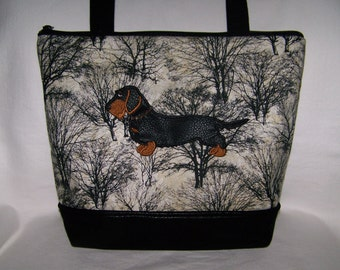 Black and Tan Wire Haired Dachshund Purse - Handbag - Bag